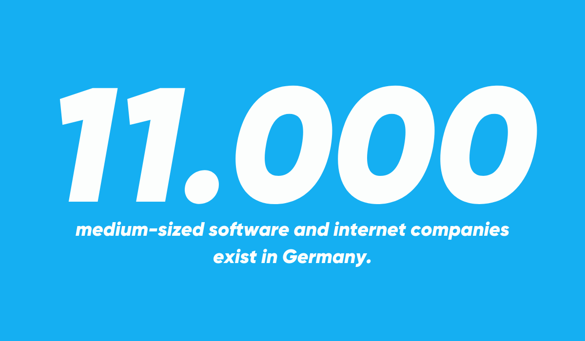 11.000 medium-sized software and internet companies exists in Germany.